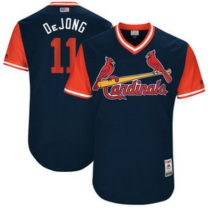 Men's St. Louis Cardinals #11 Paul DeJong Nick Name DeJong Majestic Navy 2017 Players Weekend Jersey