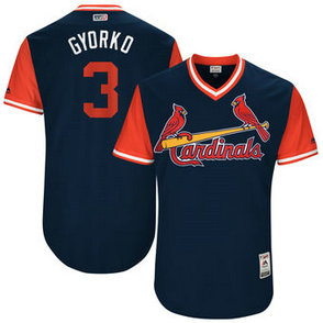 Men's St. Louis Cardinals #3 Jedd Gyorko Nick Name Gyorko Majestic Navy 2017 Players Weekend Jersey