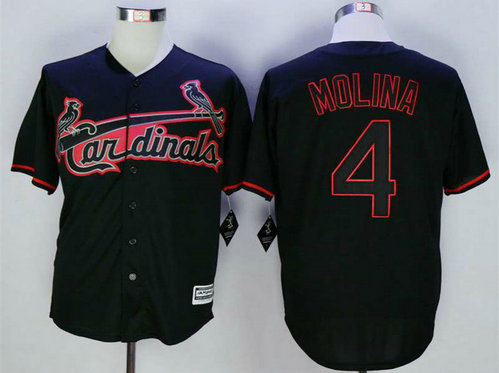 Men's St. Louis Cardinals #4 Yadier Molina Black New Cool Base Jersey