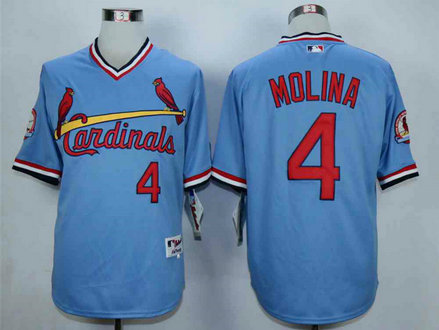 Men's St. Louis Cardinals #4 Yadier Molina Blue 1982 Turn Back The Clock Jersey