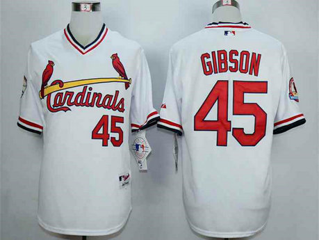Men's St. Louis Cardinals #45 Bob Gibson White 1982 Turn Back The Clock Jersey
