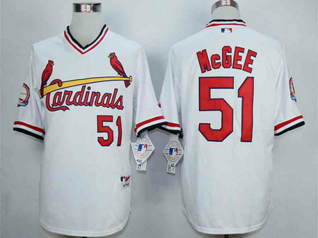 Men's St. Louis Cardinals #51 Willie McGee White 1982 Turn Back The Clock Jersey