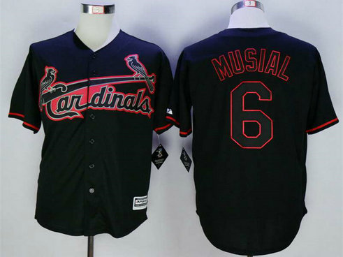 Men's St. Louis Cardinals #6 Stan Musial Black New Cool Base Jersey