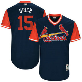 Men's St. Louis Cardinals 15# Randal Grichuk Grich Majestic Navy 2017 Players Weekend Jersey
