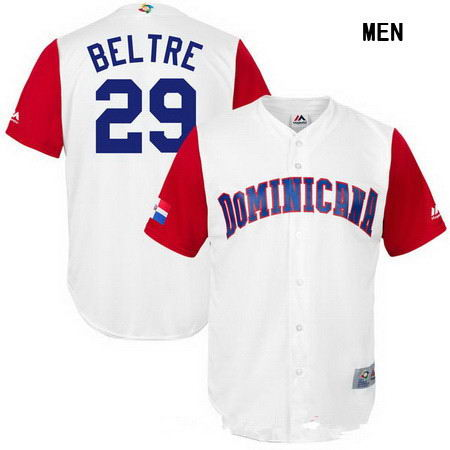 Men's Stitched Dominican Republic Baseball #29 Adrian Beltre Majestic White 2017 World Baseball Classic Replica Jersey