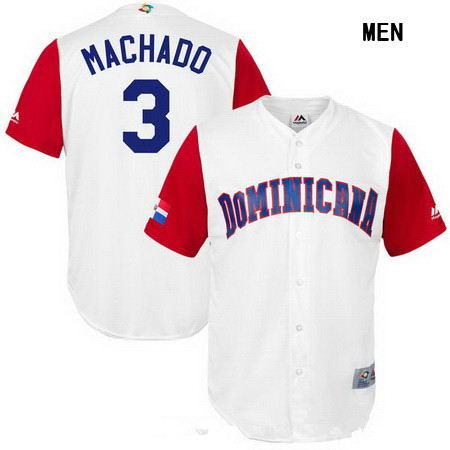 Men's Stitched Dominican Republic Baseball #3 Manny Machado Majestic White 2017 World Baseball Classic Replica Jersey