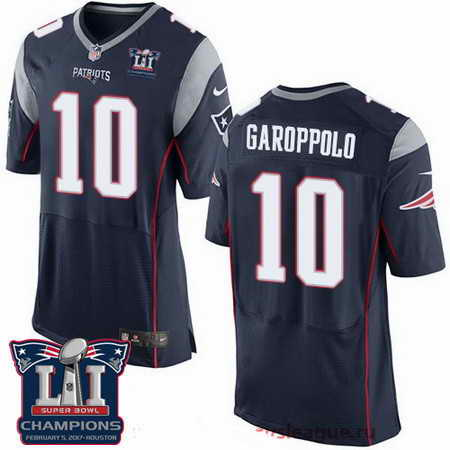 Men's Stitched New England Patriots #10 Jimmy Garoppolo Navy Blue 2017 Super Bowl LI Champions Patch NFL Nike Elite Jersey