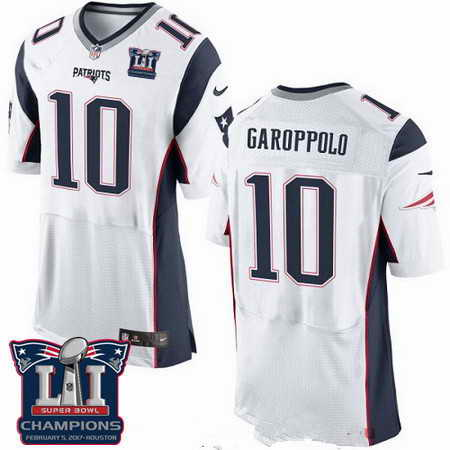 Men's Stitched New England Patriots #10 Jimmy Garoppolo White 2017 Super Bowl LI Champions Patch NFL Nike Elite Jersey