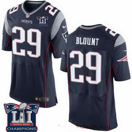 Men's Stitched New England Patriots #29 LeGarrette Blount Blue 2017 Super Bowl LI Champions Patch NFL Nike Elite Jersey