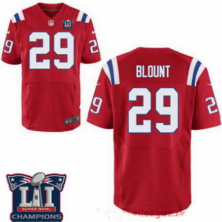Men's Stitched New England Patriots #29 LeGarrette Blount Red 2017 Super Bowl LI Champions Patch NFL Nike Elite Jersey