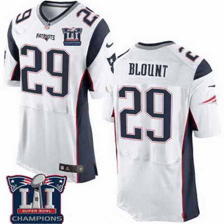 Men's Stitched New England Patriots #29 LeGarrette Blount White 2017 Super Bowl LI Champions Patch NFL Nike Elite Jersey