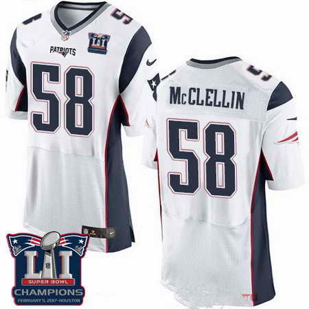 Men's Stitched New England Patriots #58 Shea McClellin White 2017 Super Bowl LI Champions Patch NFL Nike Elite Jersey