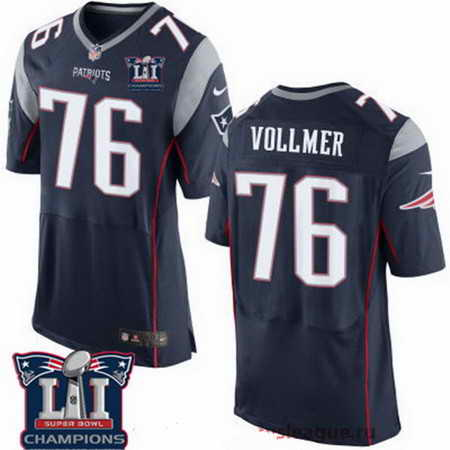Men's Stitched New England Patriots #76 Sebastian Vollmer Blue 2017 Super Bowl LI Champions Patch NFL Nike Elite Jersey