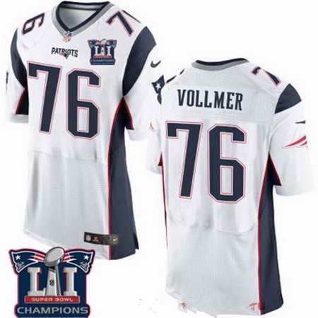 Men's Stitched New England Patriots #76 Sebastian Vollmer White 2017 Super Bowl LI Champions Patch NFL Nike Elite Jersey