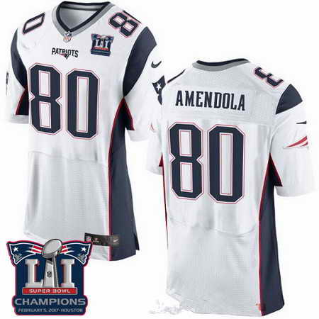 Men's Stitched New England Patriots #80 Danny Amendola White 2017 Super Bowl LI Champions Patch NFL Nike Elite Jersey