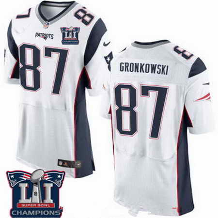 Men's Stitched New England Patriots #87 Rob Gronkowski White 2017 Super Bowl LI Champions Patch NFL Nike Elite Jersey