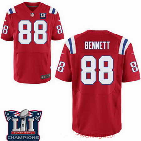 Men's Stitched New England Patriots #88 Martellus Bennett Red 2017 Super Bowl LI Champions Patch NFL Nike Elite Jersey