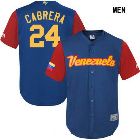 Men's Stitched Venezuela Baseball #24 Miguel Cabrera Majestic Royal 2017 World Baseball Classic Stitched Replica Jersey