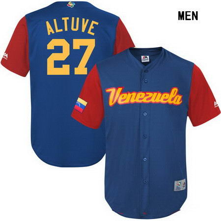 Men's Stitched Venezuela Baseball #27 Jose Altuve Majestic Blue 2017 World Baseball Classic Stitched Replica Jersey