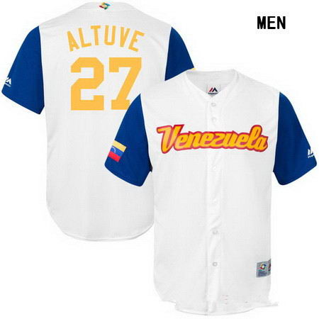 Men's Stitched Venezuela Baseball #27 Jose Altuve Majestic White 2017 World Baseball Classic Stitched Replica Jersey