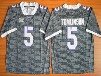 Men's TCU Horned Frogs #5 LaDainian Tomlinson Gray College Football Limited Jersey