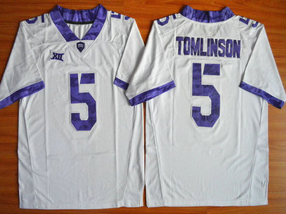 Men's TCU Horned Frogs #5 LaDainian Tomlinson White College Football Limited Jersey