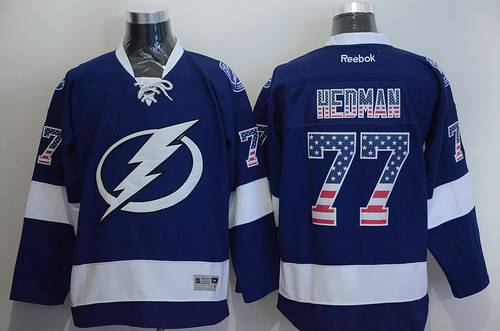 Men's Tampa Bay Lightning #77 Victor Hedman USA Flag Fashion Blue Jersey
