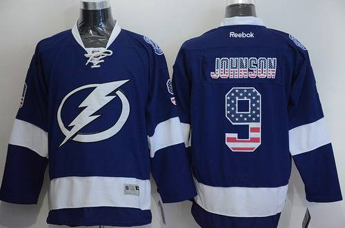 Men's Tampa Bay Lightning #9 Tyler Johnson USA Flag Fashion Blue Jersey