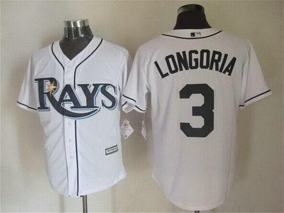 Men's Tampa Bay Rays #3 Evan Longoria Home White 2015 MLB Cool Base Jersey