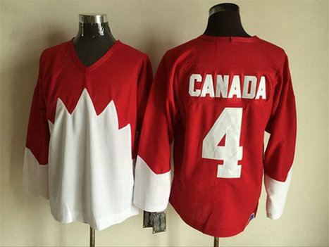 Men's Team Canada #4 Canada 1972 CCM Throwback Hockey Red Jersey