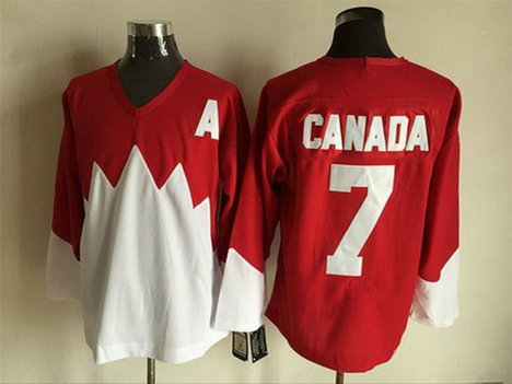 Men's Team Canada #7 Canada 1972 CCM Throwback Hockey Red Jersey