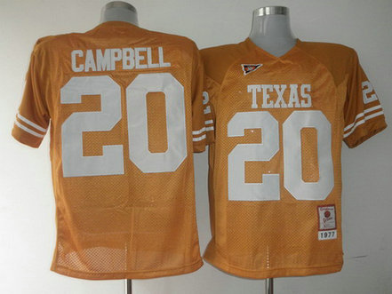 Men's Texas Longhorns #20 Earl Campbell Burnt Orange Throwback NCAA Football Jersey
