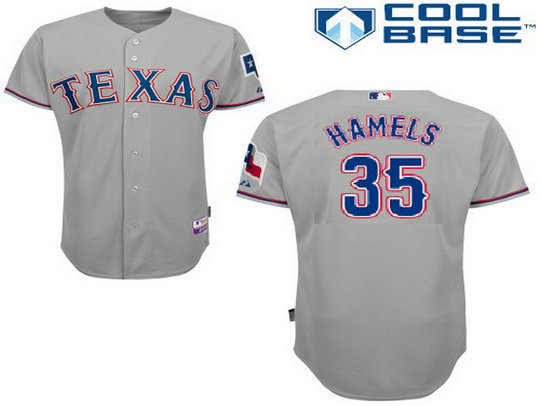 Men's Texas Rangers #35 Cole Hamels Away Gray MLB Cool Base Jersey