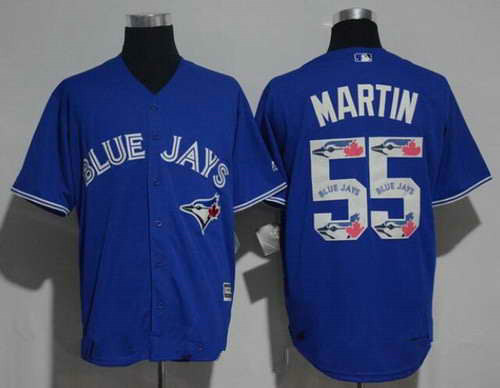 Men's Toronto Blue Jays #55 Russell Martin Royal Blue Team Logo Ornamented MLB Majestic Cool Base Stitched Jersey