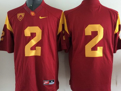 Men's USC Trojans #2 Red 2015 College Football Nike Limited Jersey