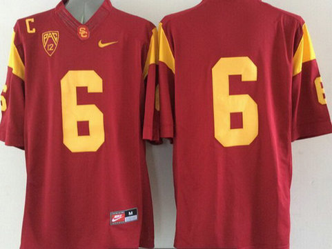 Men's USC Trojans #6 Mark Sanchez Red 2015 College Football Nike Limited Jersey