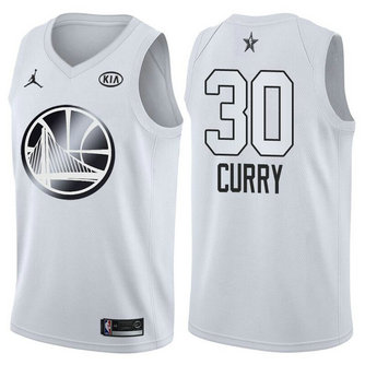 Men's Warriors 30 Stephen Curry Jordan Brand White 2018 All-Star Game Swingman Jersey