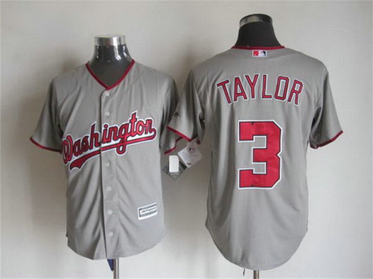 Men's Washington Nationals #3 Michael Taylor Away Gray 2015 MLB Cool Base Jersey