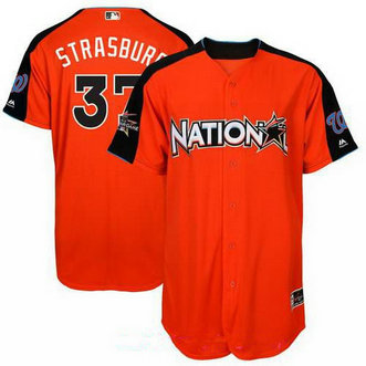 Men's Washington Nationals #37 Stephen Strasburg National League Majestic Orange 2017 MLB All-Star Game Authentic Home Run Derby Jersey
