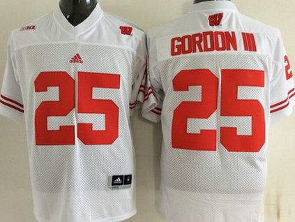 Men's Wisconsin Badgers #25 15 Golden Tate III White College Football adidas Jersey
