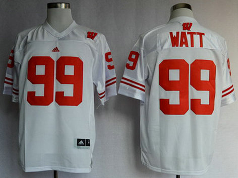 Men's Wisconsin Badgers #99 J.J. Watt White College Football Adidas Jersey