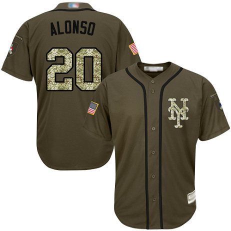 Mets #20 Pete Alonso Green Salute to Service Stitched Baseball Jersey