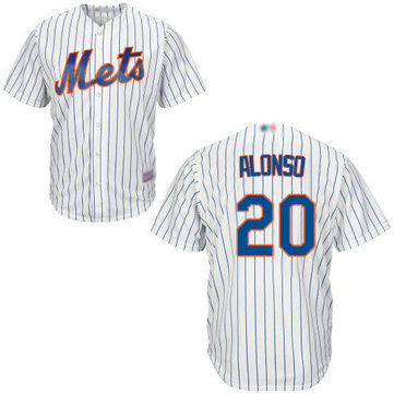 Mets #20 Pete Alonso White(Blue Strip) New Cool Base Stitched Baseball Jersey