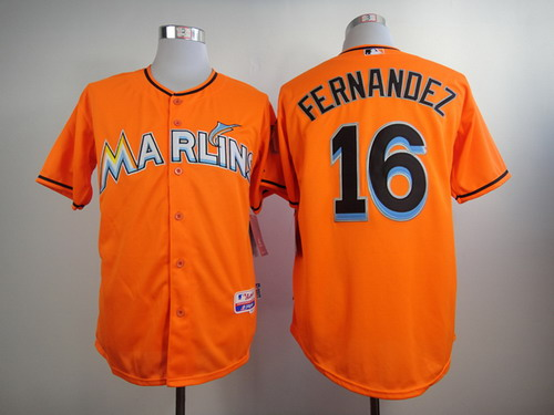 MLB Miami Marlins #16 Jose Fernandez Orange Jersey