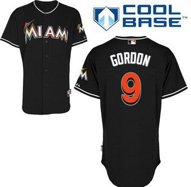 Miami Marlins #9 Dee Gordon Black Jersey