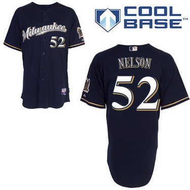 Milwaukee Brewers #52 Jimmy Nelson 2014 Navy Blue Jersey