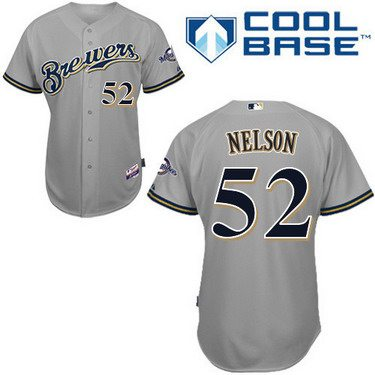 Milwaukee Brewers #52 Jimmy Nelson Gray Jersey