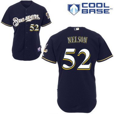 Milwaukee Brewers #52 Jimmy Nelson Navy Blue Jersey