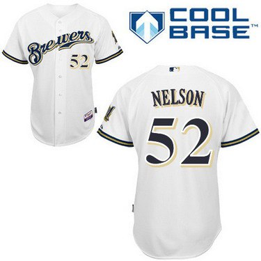 Milwaukee Brewers #52 Jimmy Nelson White Jersey