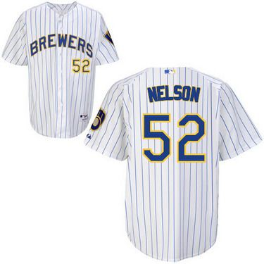 Milwaukee Brewers #52 Jimmy Nelson White Pinstripe Jersey